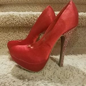 Alba red heels with sparkle